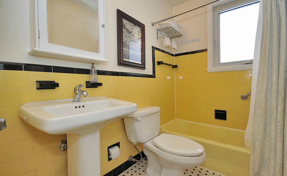 Zen shmen how to stage an old bathroom for Bathroom ideas yellow tile