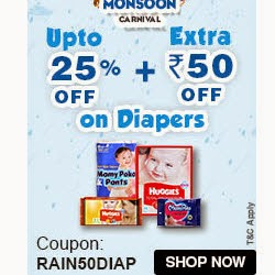 Firstcry : Diapers upto 22% off + Rs. 50 off on Rs. 200