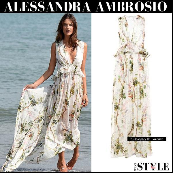 Alessandra Ambrosio in white floral print chiffon maxi dress venice film festival 2015