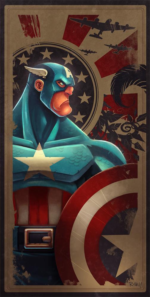 Avengers Card Captain America por frogbillgo