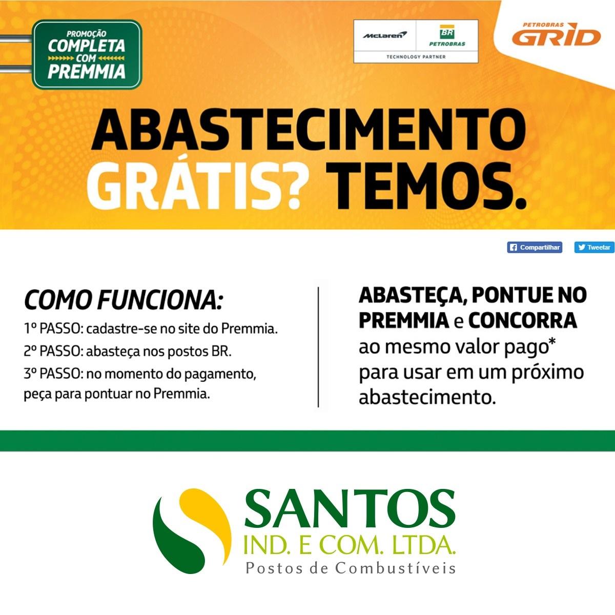 Concorra a abastecimento grátis nos Postos Santos Ltda