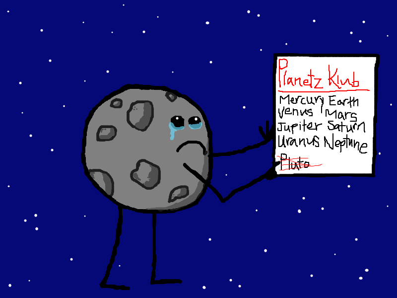 Why do you think pluto s name has been scratched from the paper and