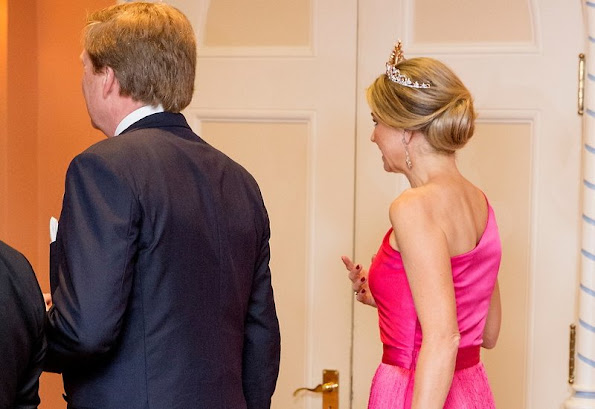 King Willem-Alexander and Queen Maxima of The Netherlands attend an state banquet offered by governor general Johnston at Rideau Hall in Ottawa, Canada