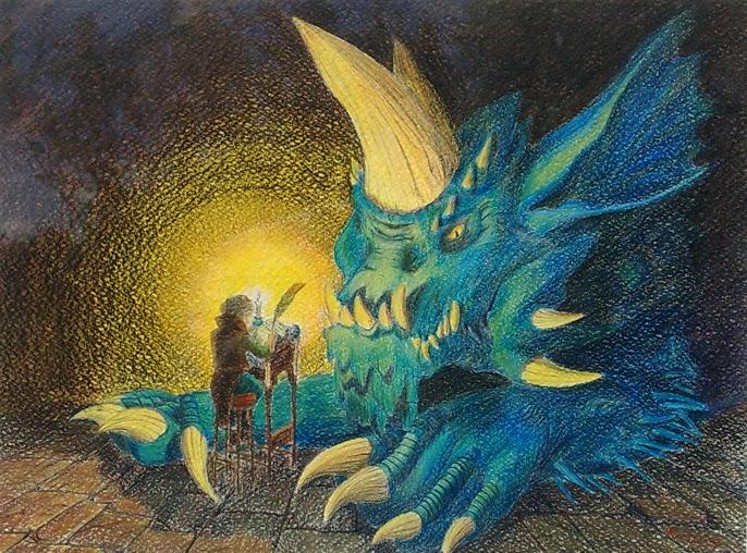Il Bardo dei draghi Carta Canson e Matite derwent Artists