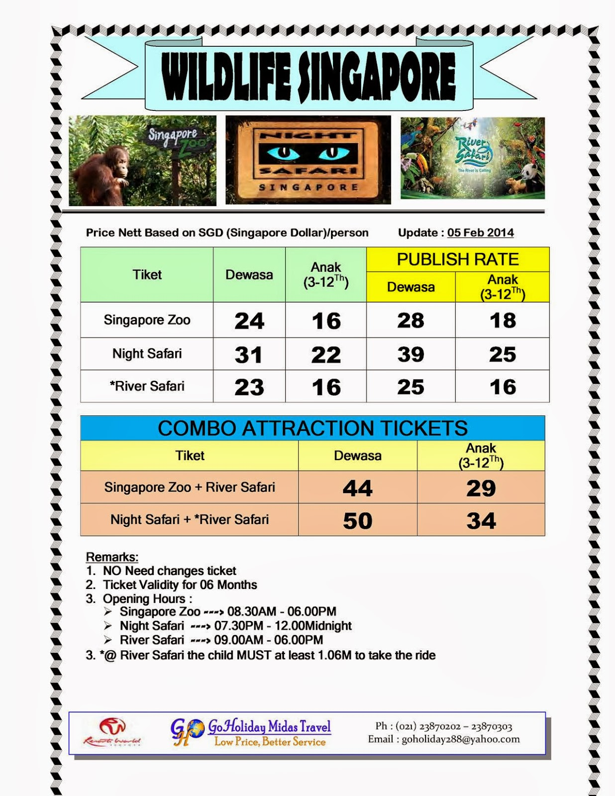 Gho Holiday Travel Februari 2014 Singapore Et Ticket Night Safari Dewasa Kini Tersedia Tiket Wildlife Zoo Di Goholiday