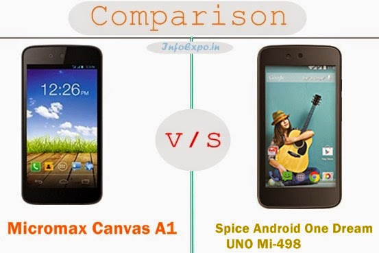 Compare Micromax Canvas A1 and Spice Android One Dream UNO Mi-498 - Android One Smartphones