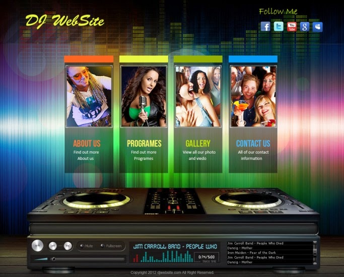 Free Download Design Templates Live Free Website - Dj website templates