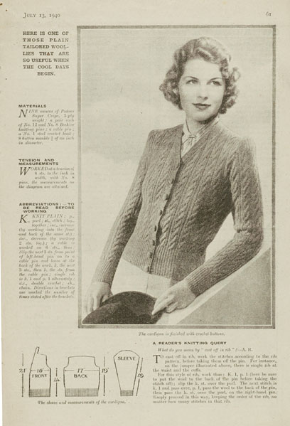 1940's Knitting pattern - A New Design in Cable Stitch cardigan