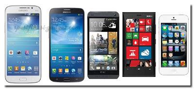 Samsung Galaxy Mega dengan Ponsel lain
