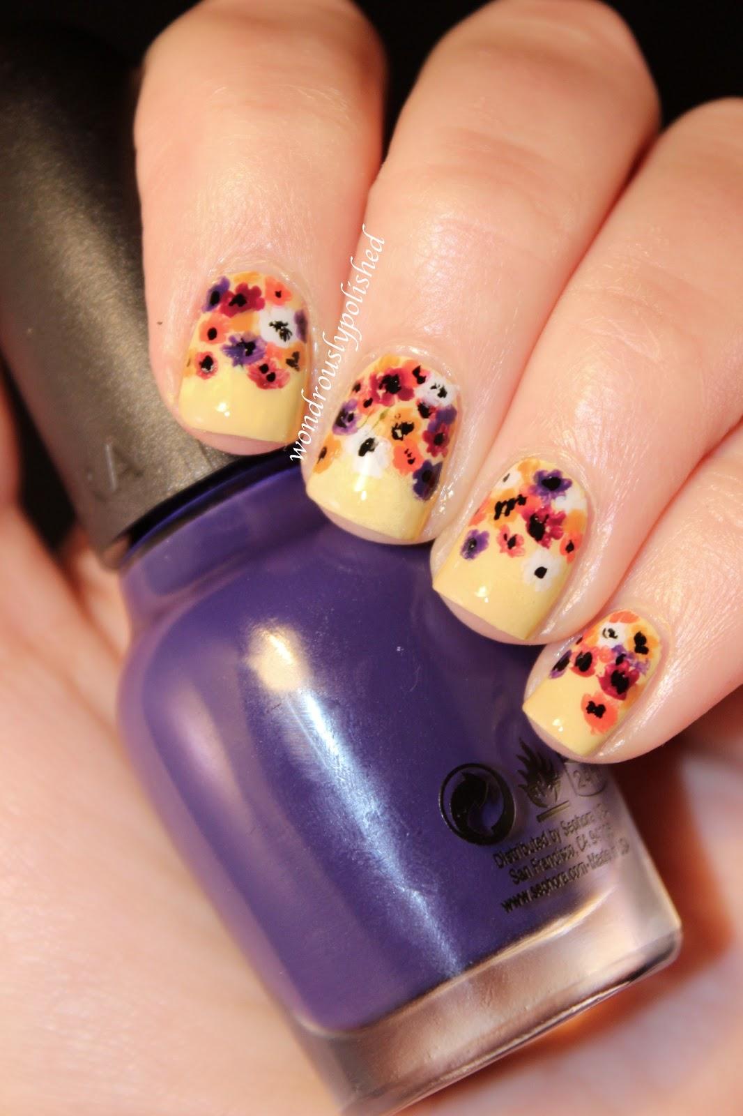 Wondrously Polished February Nail Art Challenge Day 2 Flowers
