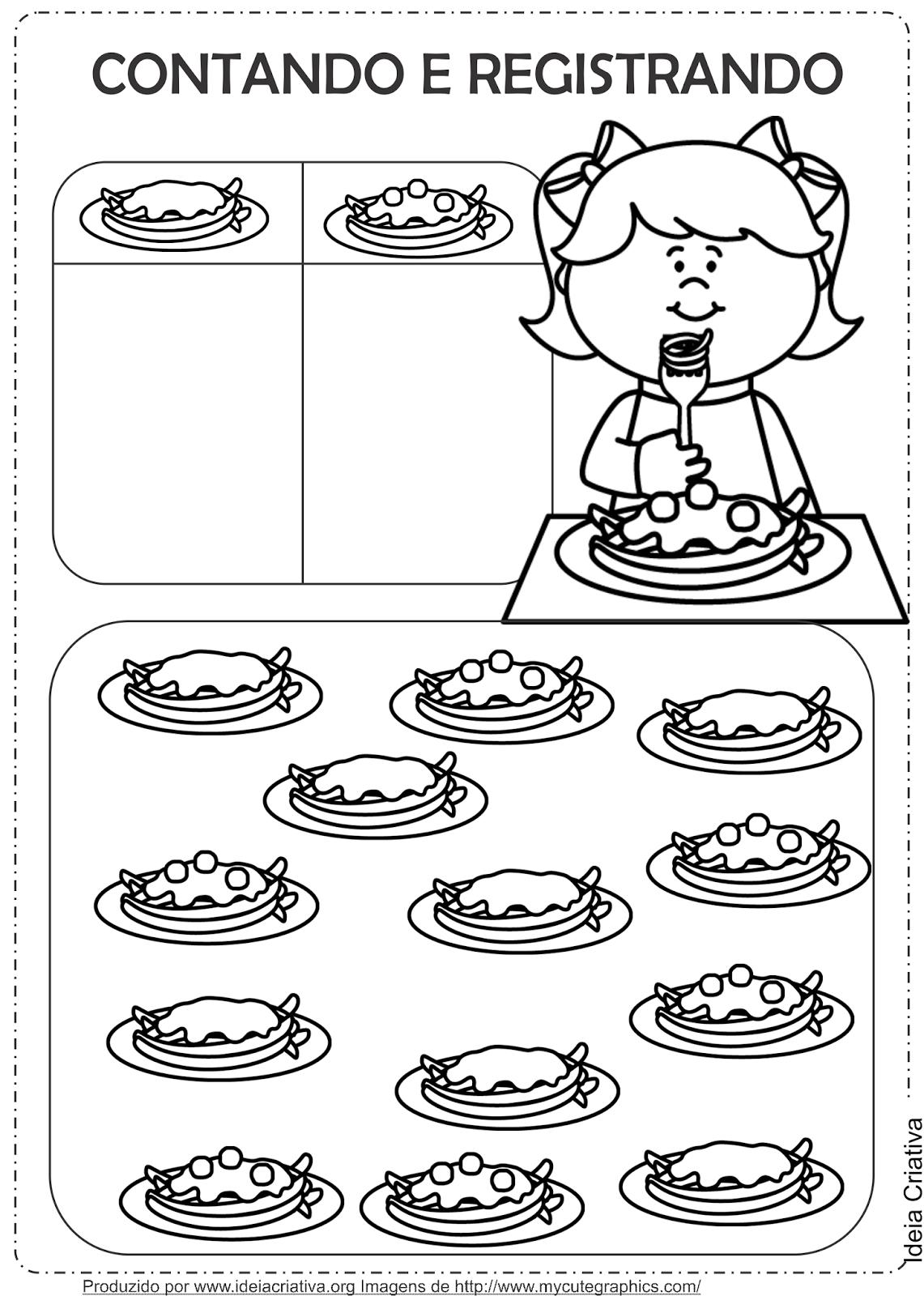 Sugestões de Atividades com Macarrãoe  e Atividades Alimentação Saudável  Contar e Registrar