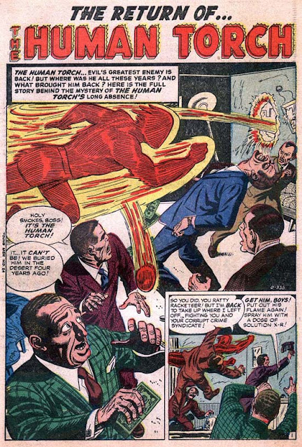 Young Men 24 Human Torch page 1: 'Holy smokes!' in dialog