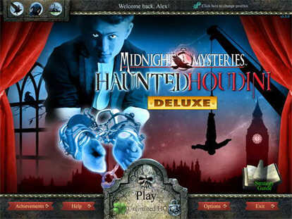 Midnight Mysteries: Haunted Houdini Deluxe Main Menu