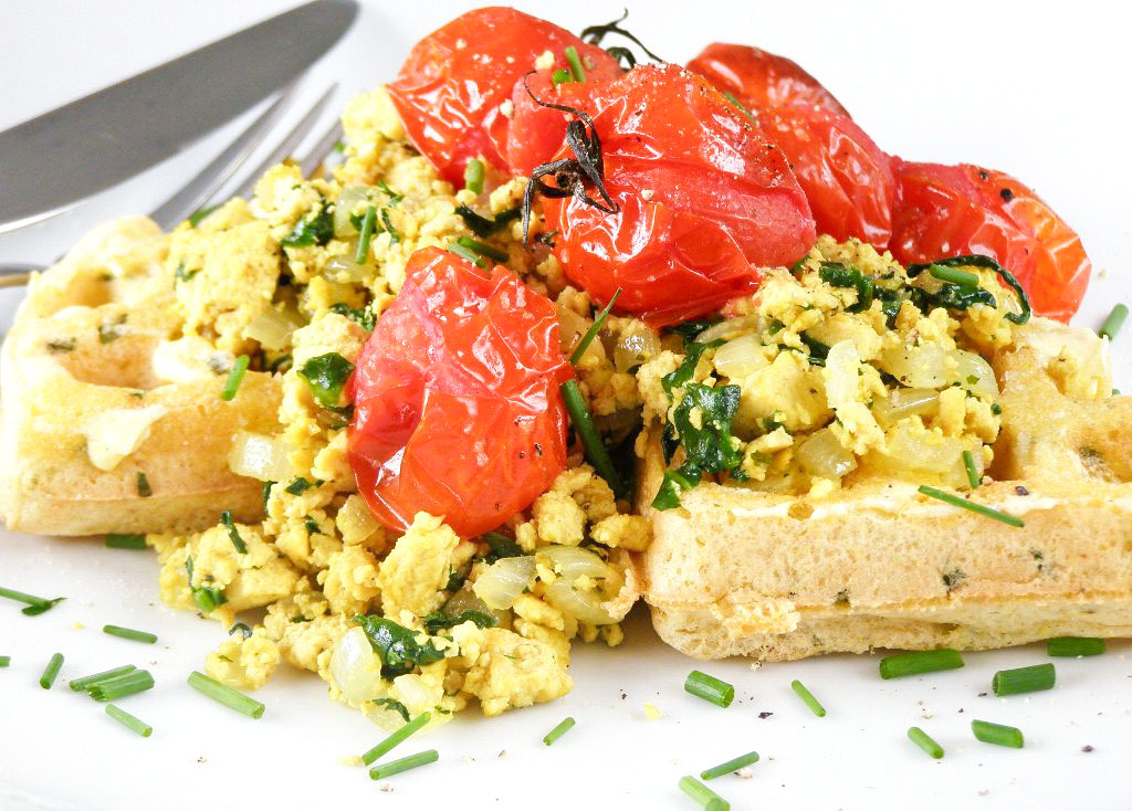 ... waffle with some of the soft flavourful tofu and juicy roasted tomato