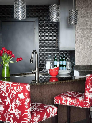 red patterned bar stools accessories