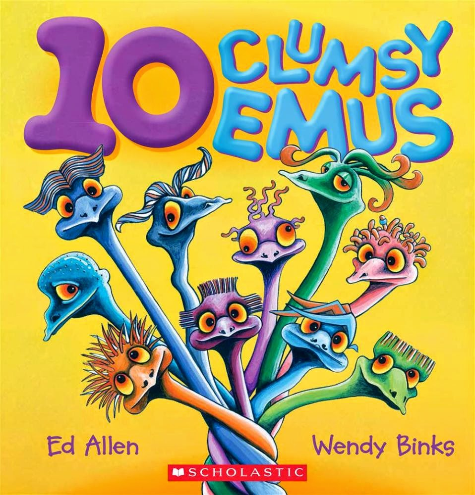 Cover of 10 Clumsy Emus by Ed Allen and illustrated by Wendy Binks
