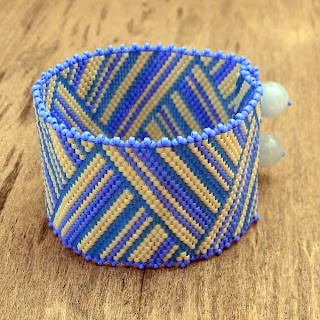 купить заказать браслет из японского бисера украина голубой