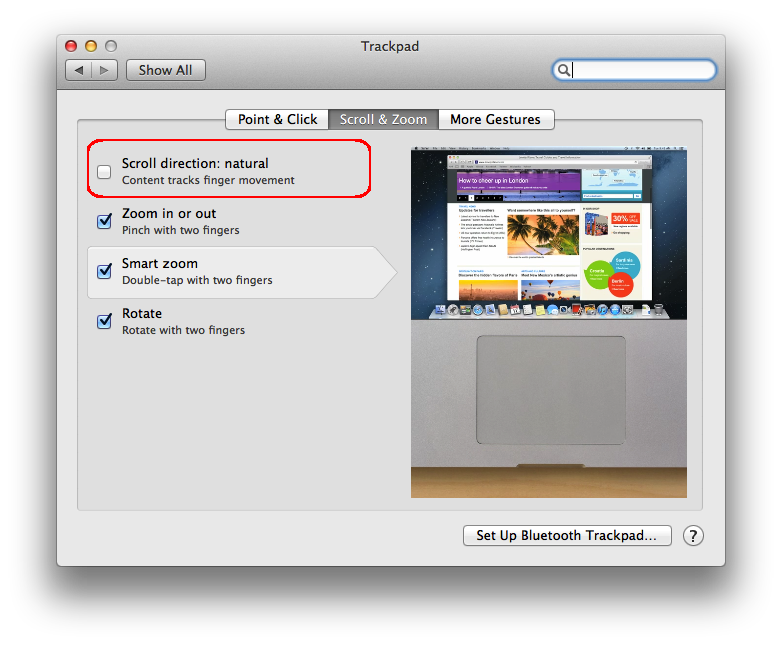 how to change the direction of scrolling on a mac