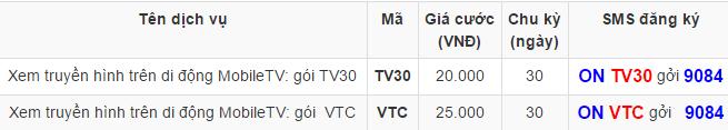 Đăng ký dịch vụ xem truyền hình Mobile TV Mobifone 1