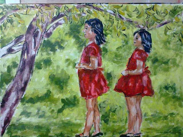 paisaje al oleo con niñas
