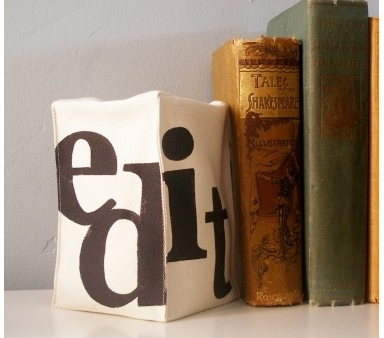 bean-filled printed bookend, says EDIT
