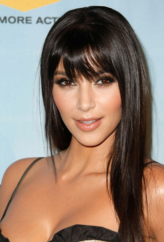 Kim Kardashian Long Hairstyles With Side Bang