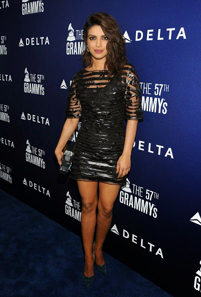 Priyanka Chopra Posing in Black Mini-dress