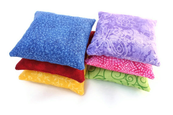 Bean Bags Rainbow Bold Brights Red Pink Purple Green Blue Yellow by Handiworkin' Girls