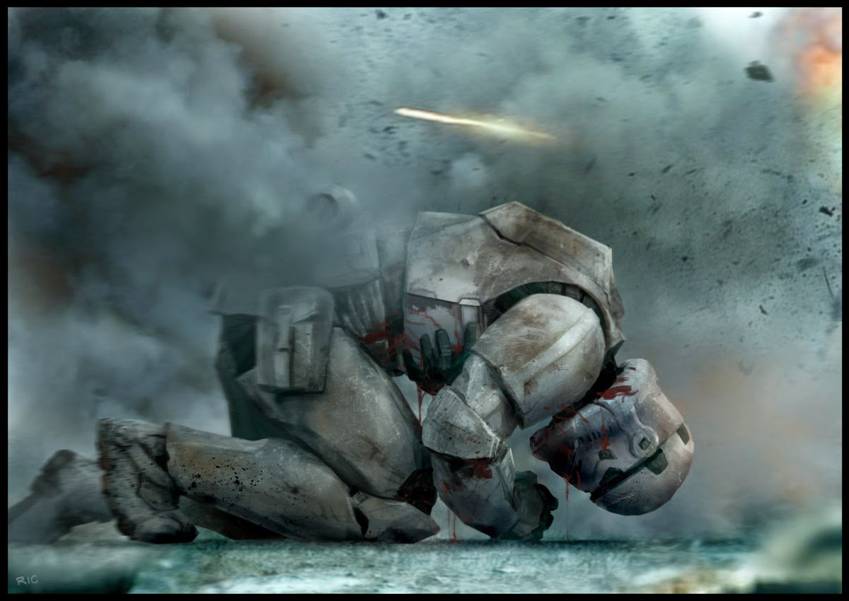 Wounded storm trooper  in a dramatic combat scenery