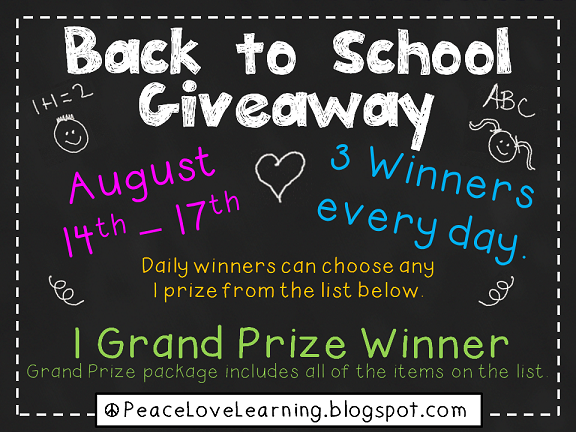 Peace, Love and Learning Back to School Giveaway Aug 14-17
