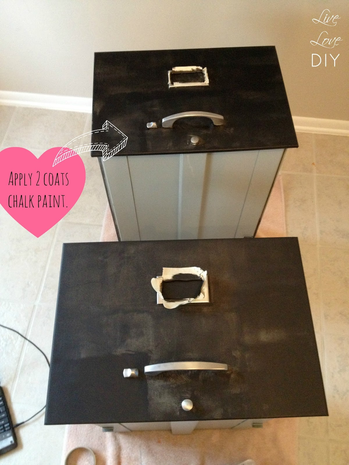 livelovediy how to spray paint a file cabinet and the occasional. Black Bedroom Furniture Sets. Home Design Ideas