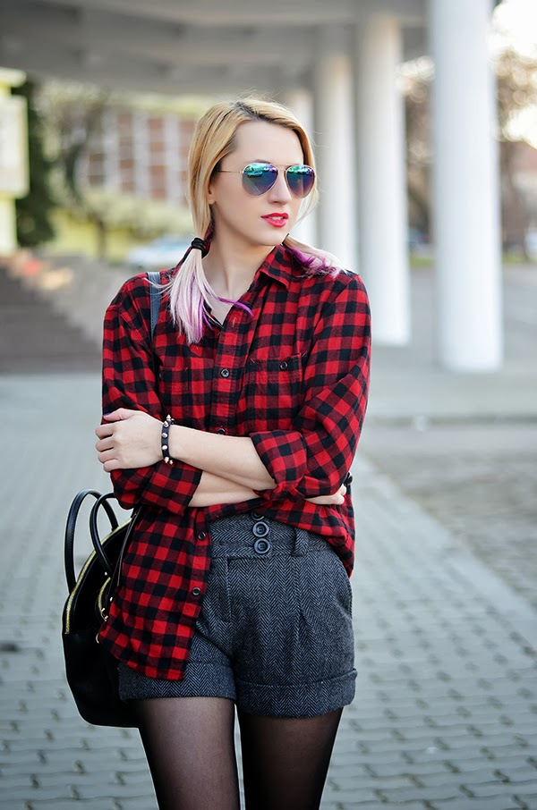 boyfriend checkered red shirt, wool shorts, knee high boots