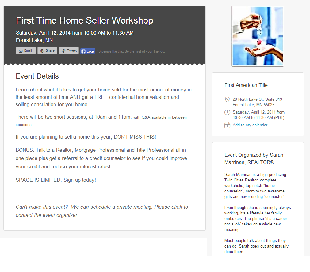 First Time Home Seller Workshop