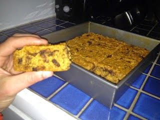 clean eating snack ideas, pumpkin chocolate chip protein squares