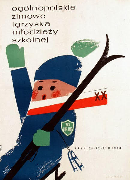 illustration for a vintage Polish ski poster