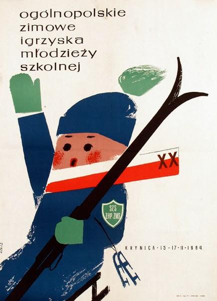 illustration for a vintage Polish ski poster