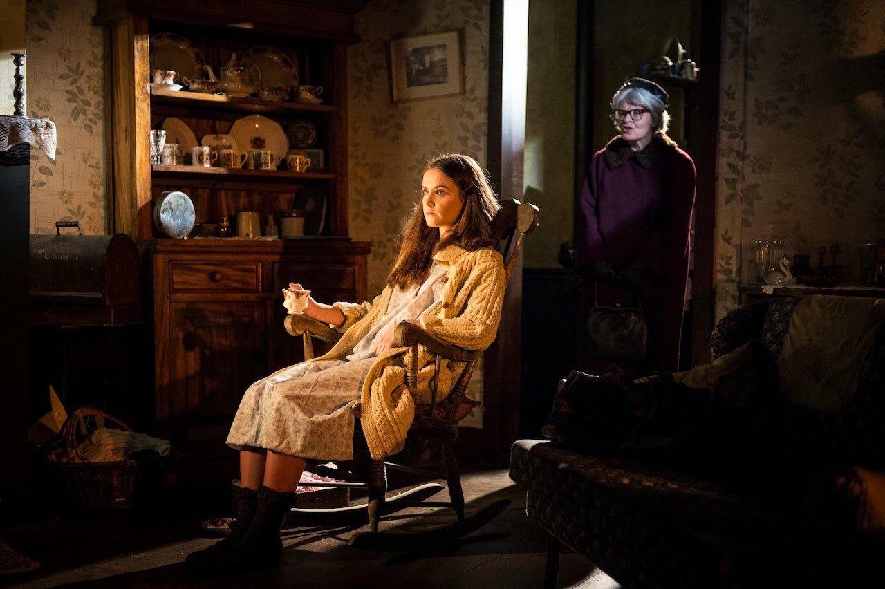 Judith Roddy as Marian and Carol Moore as the ghost of Lily Matthews Lenny in a scene from Pentecost by Stewart Parker at the Lyric Theatre until 18 Oct. To book tel: 028 90381081 or www.lyrictheatre.co.uk Pic Credit: Steffan Hill