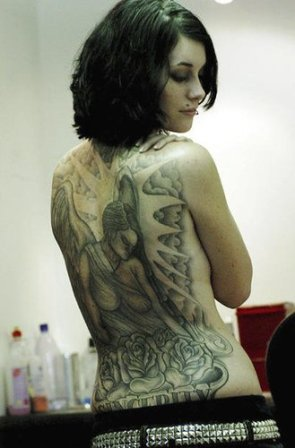 Back tattoo design girl sexy