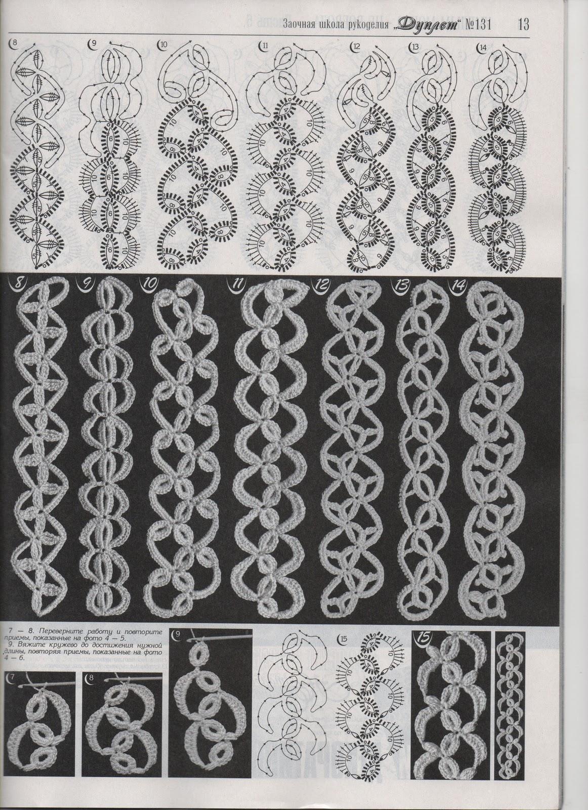 Вязание крючком ирландское ленточное