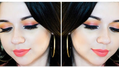 coral eyeshadow, coral summer look, coral makeup tutorial, quick and easy makeup