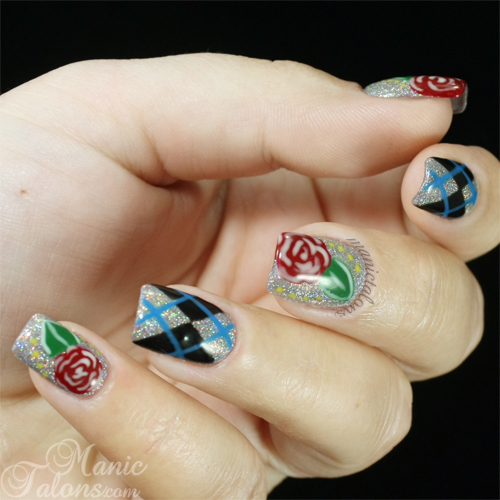 Argyle and Roses Manicure with the IBD Just Gel Polish Gel Art Kit