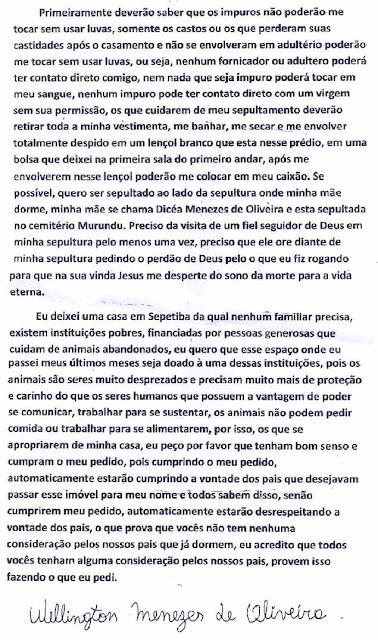 Wellington Menezes de Oliveira, carta, realengo, assassino, fanático, evangelico, escola municipal Tasso da Silveira, crente, tragédia, massacre, segurança, alarmes