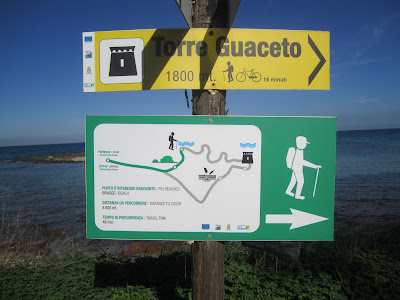 Signs Showing the Hiking Paths at Torre Guaceto