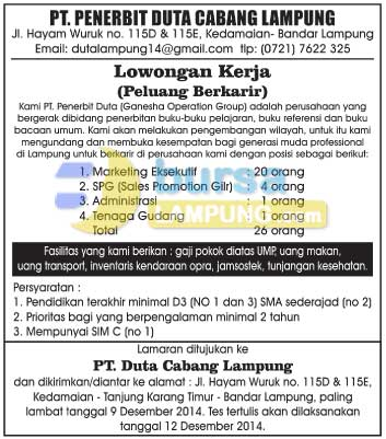 Lowongan Kerja Lampung di PT. Penerbit Duta Cabang Lampung (Ganesha Operation Group)