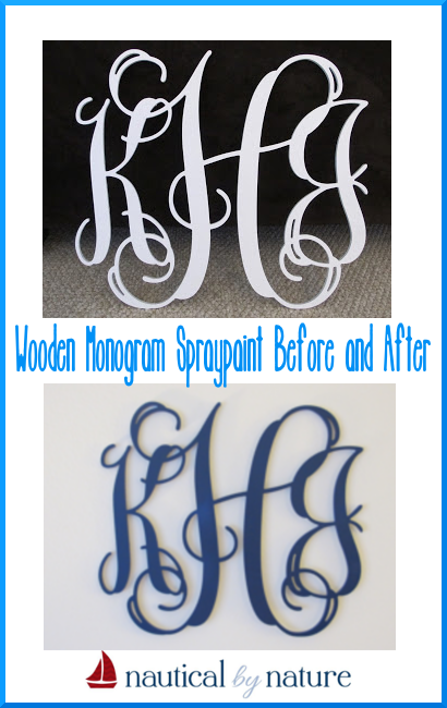 Nautical by Nature: Easy Wooden Monogram Update with spraypaint (before and after)