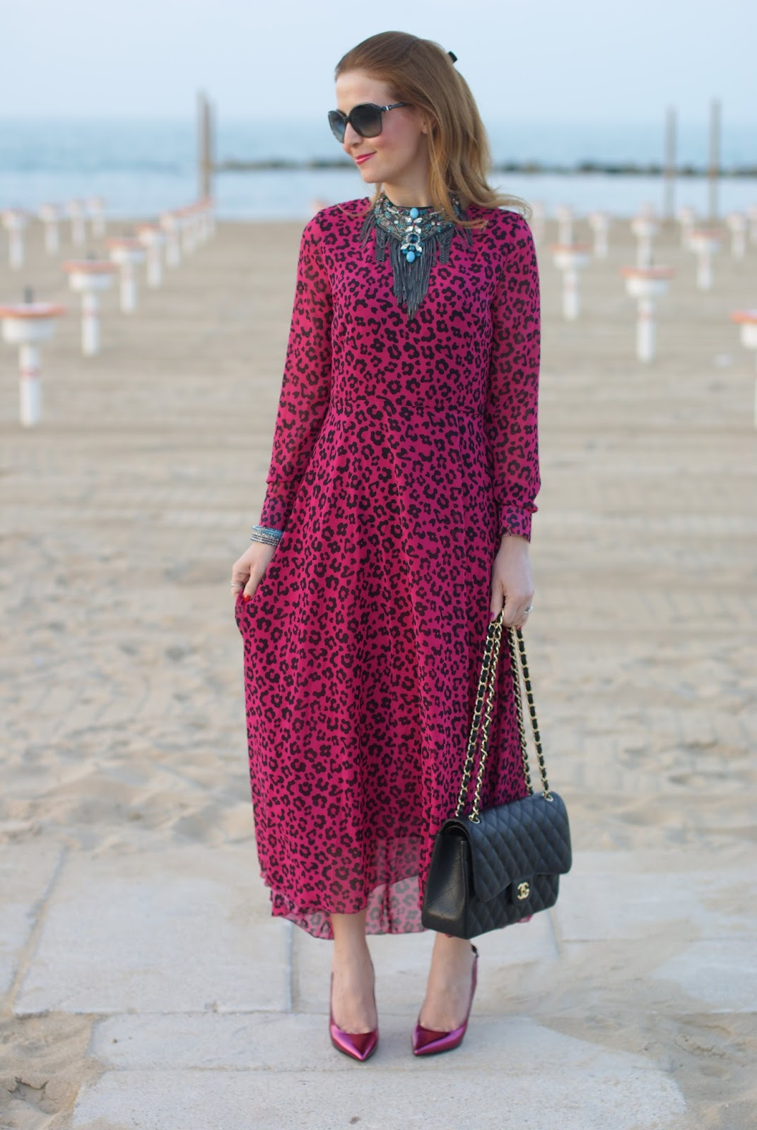Gipsy look, Chanel 2.55 bag, pink leopard chiffon dress, Romwe maxi dress, Fashion and Cookies, fashion blogger, fashion blog