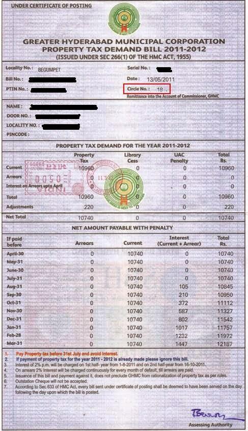 GHMC Circle on Property Tax Notice