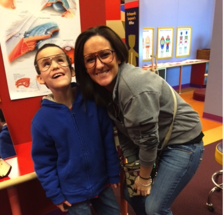 Bookshare student member Brennan Draves and his mother, Lindsay, posing to the camera.