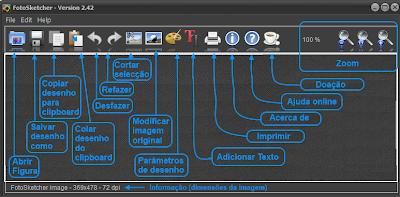 Dicas da interface do FotoSketcher em Português