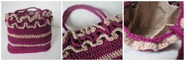 Crochet bag with frill and internal lining